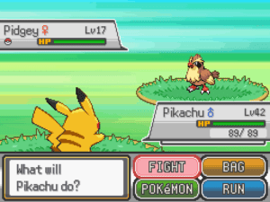 A battle has a yellow rabbit like pokemon call pikachu pitted against a bird like pokemon call pidgey across a green field. A window with several options like attack and run are listed on the bottom.