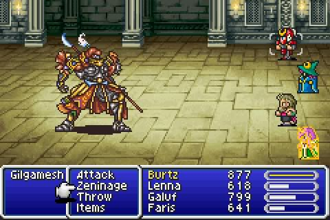 "Picture of four character facing off against a Samarri villain. Several choices are along the bottom of the screen in a blue window with a character's name and several options like ""attack"" and ""items"""